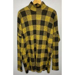 ALEMBIKA Yellow Plaid Mock Neck Long Sleeve Tunic